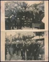 1937 Gyöngyös, A Kaszinó Egyesület 100 éves jubileuma az országzászló előtt. A vezetőség nevesített tagjaival - 2 db hátoldalon feliratozott fotó képeslap / 2 photo postcards