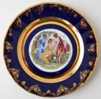 Karsbadi porcelán. Kobalt és aranyfestett mintás dísztányér. Új állapotban, eredeti dobozában / Chinaware plate 25 cm