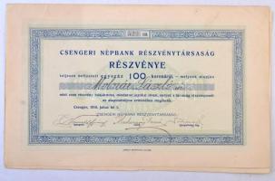 Csenger 1910. Csengeri Népbank Részvénytársaság névre szóló részvénye 100K-ról, szelvényekkel T:I-,II ázásnyom / Hungary / Csenger 1910. Csengeri Népbank Részvénytársaság share with the shareholders name, about 100 Korona, with coupons, soaked C:AU,XF