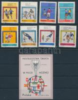 1966 Labdarúgás sor + blokk (gyűrődés), Football set + block (crease) Mi 1665 - 1672 + Mi 38