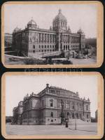 cca 1891 Prága, Rudolfinum és Nemzeti Múzeum épülete, 2 db keményhátó fotó, a kartonok sarkai kopottak, kissé sérültek, 14x9 cm x 2
