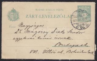 Mágócsy-Dietz Sándor (1855-1945) botanikusnak szóló levél, öcsétől, Mágócsy-Dietz Lajostól,