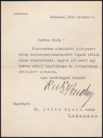 1932 Puky Endre külügyminiszter saját kézzel aláírt levele melyben kinevezésére küldött gratulációt köszöni meg.