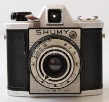 cca 1955 Chuo Supply Company Shumy japán 6x6-os fényképezőgép, eredeti bőr tokjában, működőképes, szép állapotban, RITKA! / Vintage Japanese 6x6 rangefinder camera, with original leather case, in good, working conditon, RARE!