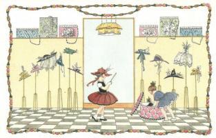 Girls playing. M. M. Nr. 1232. litho s: Mela Koehler