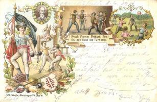 1901 Vater Jahn. Frisch Fromm Fröhlich Frei! Turnfest / German Gymnastics Festival advertisement art postcard. C.W. Tasche Art Nouveau, floral, litho