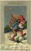 Glückliches Neujahr! / New Year greeting art postcard with dwarf. Emb. litho (Rb)