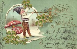 Prosit Neujahr! / New Year greeting art postcard with dwarf, mushrooms and clovers. Emb. litho