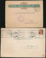 Barabás Tibor (1911- 1984) író saját kézzel írt level a munkaszolgálatból Gyenes Gitta (1888 - 1960) festőművésznek, melyben gyászához kondoleál + Gyenes Gitta egy hivatalos irata.