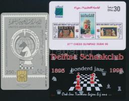 3 sakk témájú telefonkártya / 3 chess phone cards