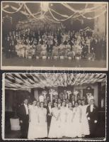 cca 1930-1938 Bálozó társaság Keszthelyen és Makón, 2 db fotólap, 8,5×13,5 cm