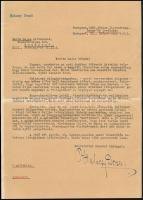 1958 Bp., Halácsy Dezső (1908-?) hírlapíró, író gépelt levele Barta Lajos (1878-1964) író, Halácsy Dezső saját kezű aláírásával.