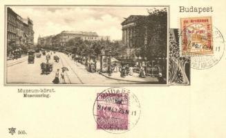Budapest VIII. Múzeum körút, hirdetőoszlop 1917 Budapest Hadirepülő Kiállítás So. Stpl