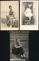 Lányokat ábrázoló fotók, 5 db fotó, 14×9 cm