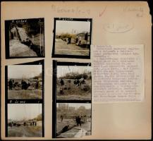 cca 1950-1960 Tabáni munkálatok, Bojár Sándor felvételei, sajtófotók felirattal, papírlapra ragasztva, 23×24,5 cm