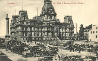 Montreal, City hall, Jacques Cartier Market with vendors and horse carts