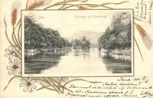 1901 Jena, Pradies mit Hausberg. Art Nouveau, floral, litho frame (Rb)