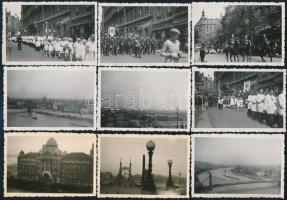 1936 Budapest, úrnapi körmenet, 26 db fotó, egy részük hátulján feliratozva, különböző méretben
