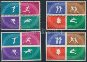 Olympics set im blocks of 4 (perforated + imperforated), Olimpia sor négyestömbök (fogazott + fogazatlan)