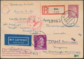 1944 Cenzúrás ajánlott légi levelezőlap Magyarországra / Censored registered airmail postcard to Hungary