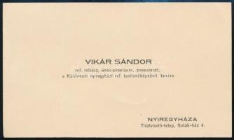 1933 Vikár Sándor (1905-1985) református lelkész, zeneszerző, tanár ás felesége saját kezű újévi üdvözlő sorai és aláírása névjegykártyáján