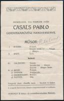 1912 Pablo Casals (1876-1973) katalán származású spanyol csellóvirtuóz, karmester aláírása miskolci koncertjének meghívóján