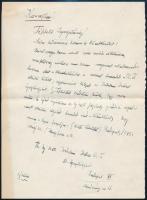 1945 Herczeg Ferenc (1863-1954) saját kézzel írt lemondó levele az Singer és Wolfner cégnek, melyben lemond az Rt. elnöki tisztéről és az Irodalmi Intézet igazgatóságáról, valamint azt is kijelenti, hogy amennyiben újra indulhatna az Új Idők folyóirat, a gondok és izgalmak elkerülése céljából lemond arról a kitüntetésről, hogy a neve a lapon szerepeljen. Borítékkal.