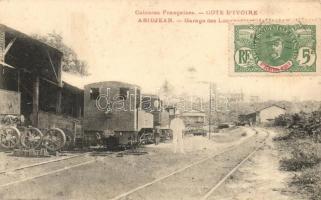 Abidjan, Abidjean; Colonies Francaises, Garage des Locomotives / railway garage of the locomotive. TCV card
