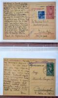Gyűjtemény II. világháborús levelezésekből, nagyrészt júdaika, munkaszolgálatos küldemények közte több csomagszállító, hozzá kevés régebbi, képeslap, néhány háború utáni internálótábori küldemény. Rendkívül érdekes 155 darabos összeállítás nagyobb gyűjtemény fejlesztéséhez, kutató munkához! / Collection of 155 2nd World War judaica, forced jewish labour service covers, postcards, parcel cards + a few earlier postcards, documents + internment camp postcards 1947-48, in album.