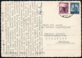 1949 Berkessy Elemér (1905-1993) válogatott labdarúgó levelezőlapja aláírásával