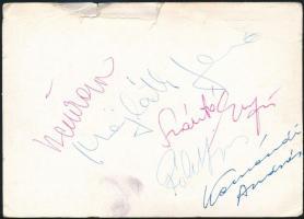 A Holéczy együttes tagjainak aláírásai az együttest ábrázoló fotólap hátulján