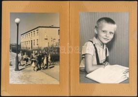 1964 Budapest - Csepel, Az Iskola téri iskola épülete, 4 db fotó, közte két gyermekportré emléklapra ragasztva, 13×9 cm