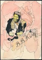 cca 1980 Riley B. King (B. B. King, 1925-2015) amerikai blues énekes gitárosról készített akvarell-tus rajz