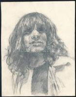1980 Földes László (Hobo), a Hobo Blues Band alapító tagja és énekese, ceruzarajz, 12,5×10 cm