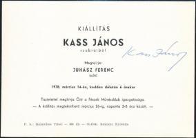 1978 Kass János (1927-2010) aláírása egy Fészek Művészklubos kiállítási meghívóján, Bp., Rákóczi Nyomda. Kádár György (1912-2002) Kossuth-díjas festő, grafikus, főiskolai tanár hagyatékából.