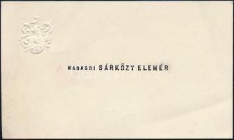 Nádasdi Sárközy Elemér (1900-1988) festőművész névjegykártyája, a hátoldalán saját kezű soraival.