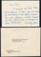 1965 Végh Gusztáv (1889-1973) festő, grafikus gépelt, valamint saját kézzel írt angol nyelvű köszönő levelei International Book Center részére