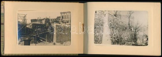 cca 1950-1960 A budai vár újjáépítése, 48 db fekete-fehér fotó, vászon fotóalbumban, 8x5 cm