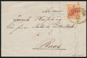 "~1852 3kr HP IIIa on cover ""PRESSBURG"" Sign:Ferchenbauer, ~1852 3kr HP IIIa levélen, Ferchenbauer vizsgálójellel ""PRESSBURG"""