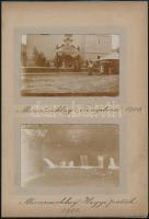 1906 Mürrzuschlag, templom és hegyi patak, 2 db fotó albumlapon, feliratozva, 6×8,5 cm / Mürrzuschlag, Austria, 2 photos