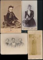 1894-1916 Vegyes fotó tétel, hölgyportrék, 10 db, keményhátú fotó 9 db, 1 db igazolványkép, változó állapotban, közte foltosak, körbevágottak, 7x5 cm és 20x11 cm közötti méretben