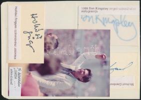 4 db különféle színész aláírás: Hollósi Frigyes, Ben Kingsley, stb.