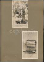 Budapestm VIII. József Krt. 10-12. Manus szőnyeg, fonal, gobelin üzlet portálja, valamint belseje és a szőnyegkészítésről készült összesen 7 db fotó. Kettő kivételével nagy méretűek. 23,5x17,5 cm