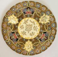cca 1880 Áttört virág mintás (Fischer vagy Schütz) dísztál, kézzel festett, jelzés nélkül, repedéssel, d: 47 cm
