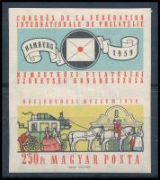 1959 FIP (II.) vágott bélyeg postakocsi alsó szelvénnyel (10.000)
