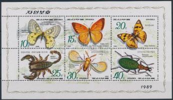 1989 Rovarok, lepkék kisív, Insect, butterfly minisheet Mi 3010-3015