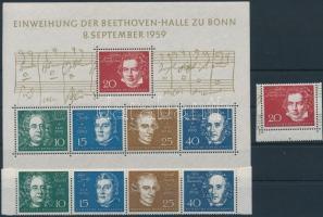 The Beethoven Hall in Bonn set from block + block, A bonni Beethoven-csarnok blokkból kitépett sor + blokk