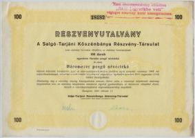 Budapest 1944. A Salgó-Tarjáni Kőszénbánya Részvény-Társulat részvényutalványa 3000P-ről (3x), sorszámkövetők bélyegzéssel és szárazpecséttel T:III fo.