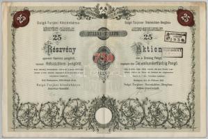 Budapest 1935. Salgó-Tarjáni Kőszénbánya Részvény-Társulat huszonöt részvénye egyben összesen 750P-ről, magyar-német kétnyelvű részvény, szelvényekkel, szárazpecséttel és bélyegzésekkel (4x), mellette a Budapesti Giro- és Pénztár-egylet Részvénytársaság igazolása T:III