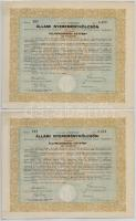 Budapest 1941. 4%-kal kamatozó állami nyereménykölcsön - államadóssági kötvény 200P-ről (2x) szárazpecséttel, szelvényekkel, sorszámkövetők T:II,III egyiken szakadás